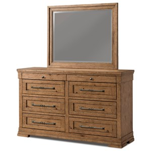 Haven Dresser and Mirror Set with Jewelry Tray Drawer and Built-In Power Strip