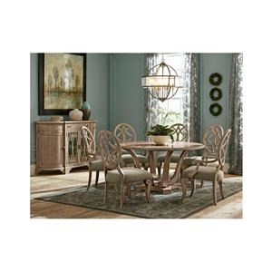 7 Piece Round Dining Room Table, 4 Upholstered Side Chairs and 2 Upholstered Arm Chairs Set
