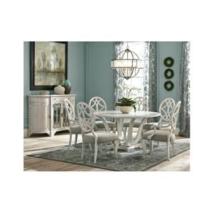 8 Piece Round Dining Room Table, 4 Upholstered Side Chairs, 2 Upholstered Arm Chairs and Server Set