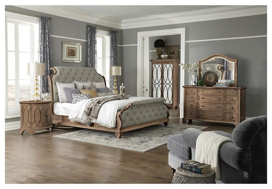 Jasper County Queen Upholstered Sleigh Bed Package by Trisha Yearwood Home Collection by Klaussner at Sam Levitz Furniture