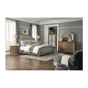 Queen Upholstered Sleigh Bed, Dresser, Mirror, 2 Nightstands and Chest Package