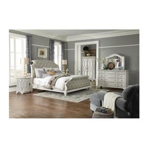 King Upholstered Sleigh Bed, Dresser, Mirror, Nightstand and Chest Package