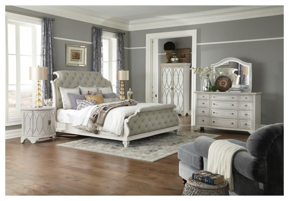 King Upholstered Sleigh Bed Package