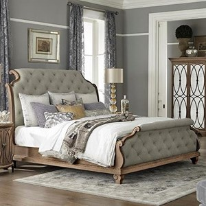 Honeysuckle Upholstered King Sleigh Bed with Button Tufting