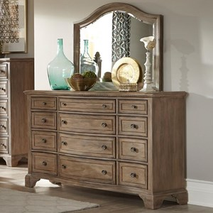 Vintage 12 Drawer Dresser and Mirror Set with Built-in Power Outlets