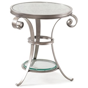 Tanner Metal End Table with Antiqued Glass Top and Clear Glass Shelf