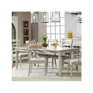 8 Piece Dining Room Rectangular Extension Table, 4 Ladderback Side Chairs, 2 Ladderback Arm Chairs and Server Set