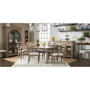 7 Piece Rectangular Dining Room Extension Table, 4 Ladderback Side Chairs and 2 Ladderback Arm Chairs Set