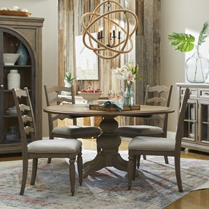 5-Piece Dining Set with In The Round Table and Concord Ladderback Chairs