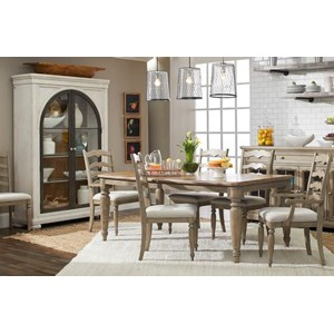 7-Piece Dining Set with McGuire Table and Ladderback Chairs