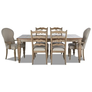 7-Piece Dining Set with McGuire Table, Concord Ladderback Chairs, and Church Street Chairs
