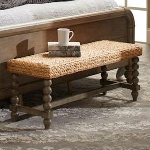 16th Avenue Bench with Woven Rush Wicker Seat
