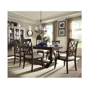7 Piece Rectangular Dining Room Extension Table, 4 Upholstered Side Chairs and 2 Parson Chairs Set
