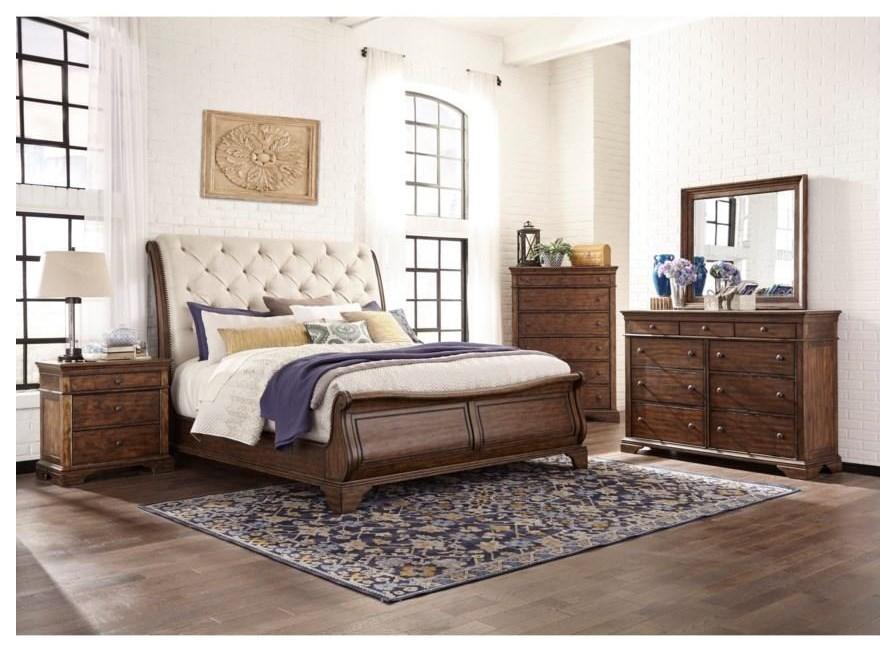 Trisha Yearwood Home King UPH Sleighl Bed Package by Trisha Yearwood Home Collection by Klaussner at Sam Levitz Outlet