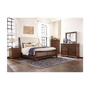 King Upholstered Sleigh Bed, Chest and Nightstand Package