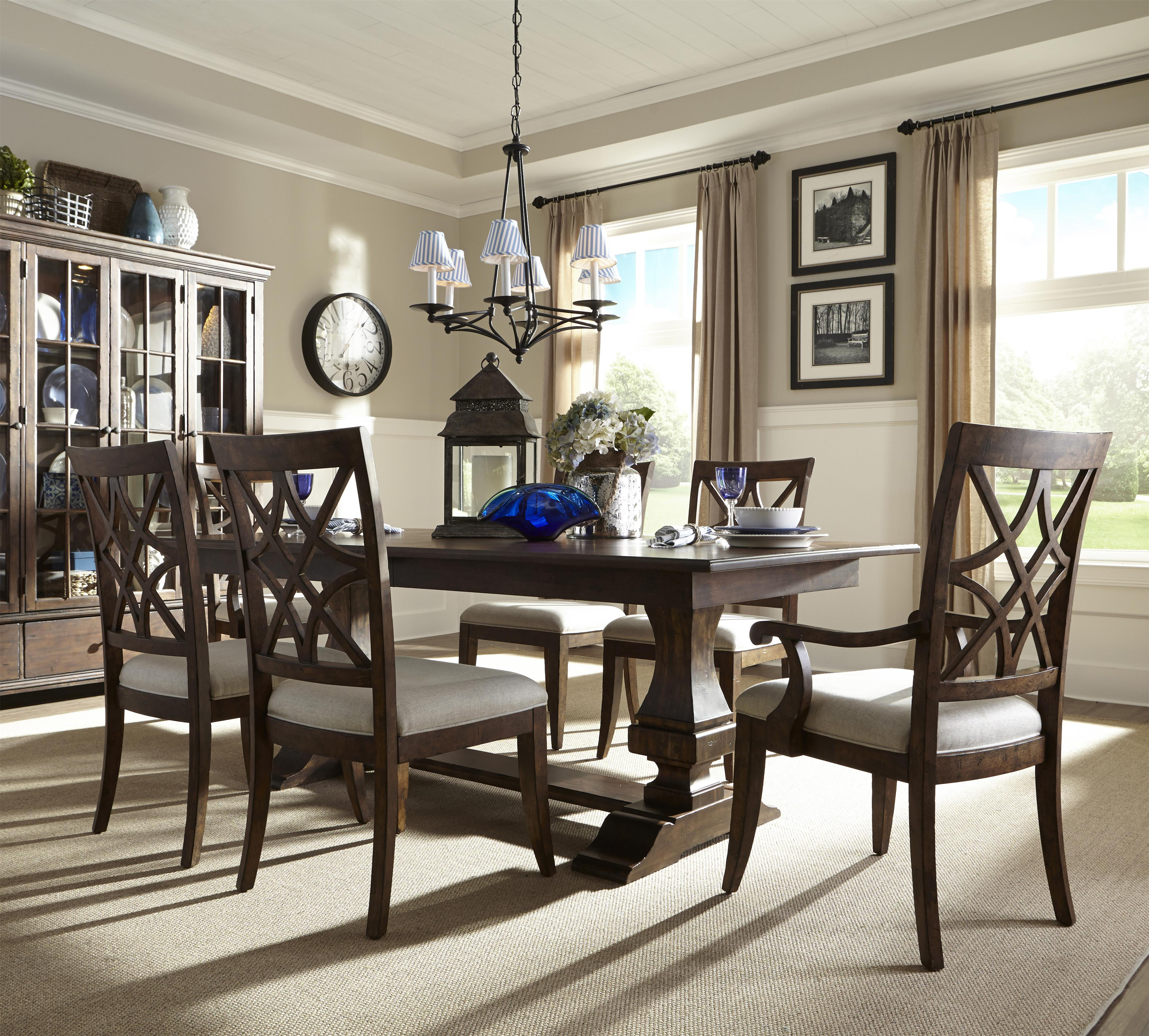 Trisha Yearwood Home Trestle Table and Chairs Set by Trisha Yearwood Home Collection by Klaussner at Ruby Gordon Home