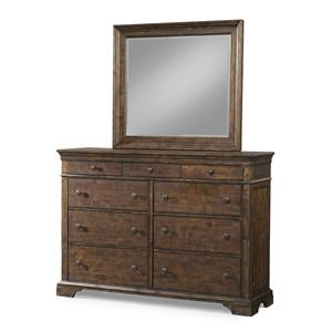 9 Drawer Dresser and Mirror Set with Crown Molding
