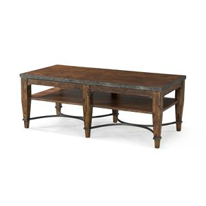 Ginkgo Cocktail Table with Shelf and Decorative Bottom