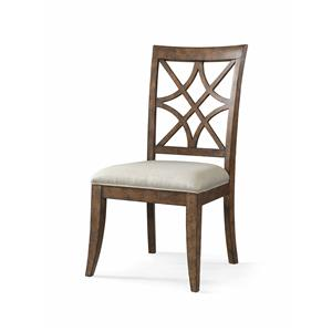 Nashville Side Chair with Lattice Back and Upholstered Seat