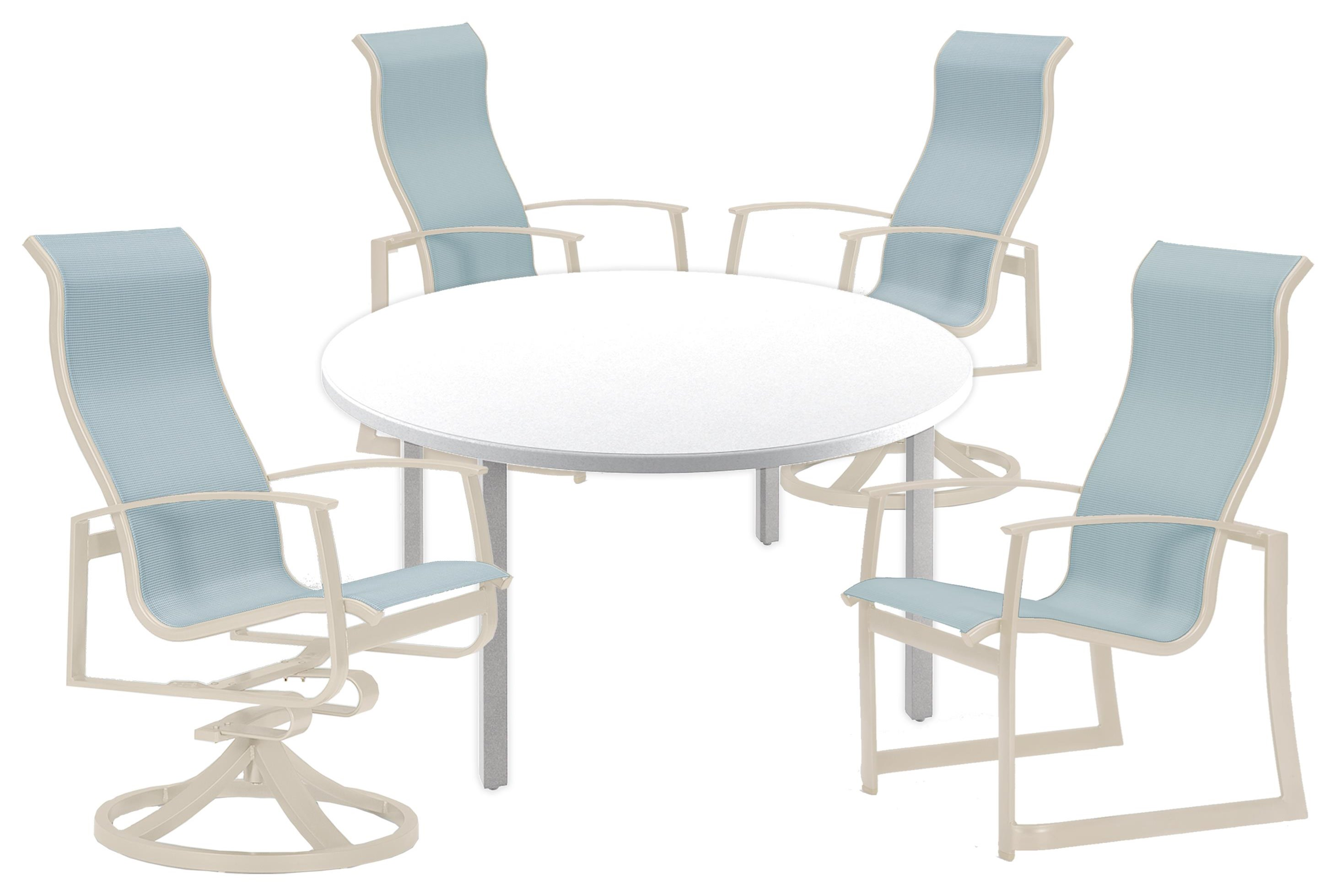 Mainsail 48 inch Table, 2 Dining and, 2 Swivel Chairs by Tropitone at Johnny Janosik