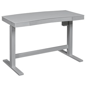 Contemporary Adjustable Standing Desk with Gray Frame and White Dry Erase Glass Top