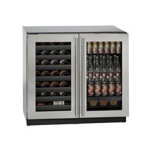 """U-Line Combo Models 36"""" Built-In Beverage Center/Wine Storage"""