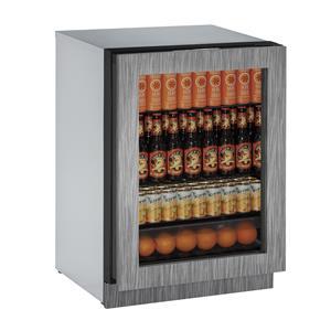 "U-Line Refrigerators 24"" Glass Door Compact Refrigerator"