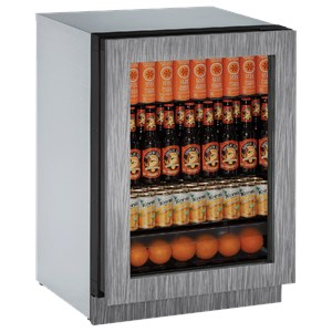 "U-Line Refrigerators 24"" Glass Door Refrigerator"