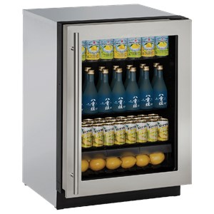 "U-Line Refrigerators 24"" Glass Door Refrigerator"