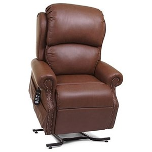 Medium Power Lift Recliner with Rolled Arms and Nailhead Trim