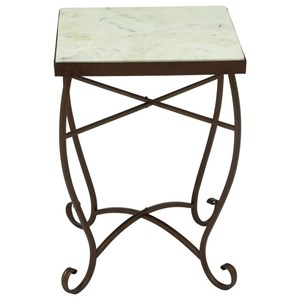 Metal/Marble Square Accent Table