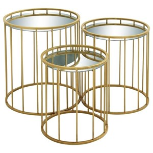 Metal Mirror Accent Tables, Set of 3