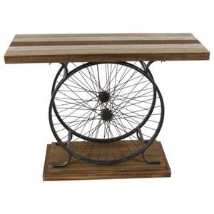 Metal/Wood Wheel Console