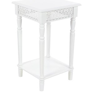Wood White Side Table