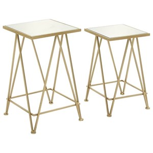 Metal/Mirror Accent Table, Set of 2