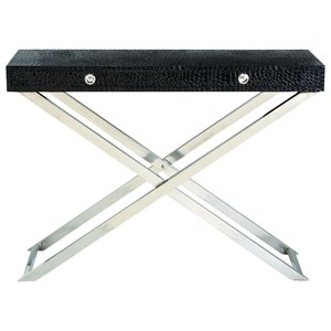 Stainless Steel/Faux Leather Console
