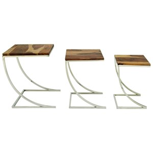 Wood/Stainless Steel Nesting Tables, Set of 3