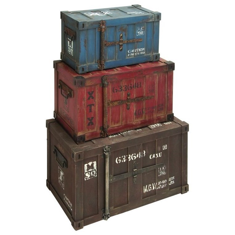 Accessories Wood Trunk, Set of 3 by UMA Enterprises, Inc. at Wilcox Furniture