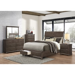 Rustic King Sleigh Bed with Footboard Storage
