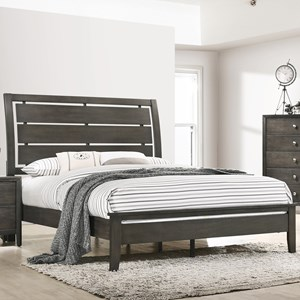 Transitional King Bed with Panel Headboard