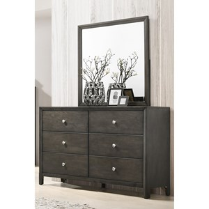 Transitional 6 Drawer Dresser with Mirror