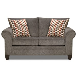 Transitional Loveseat with Rolled Arms