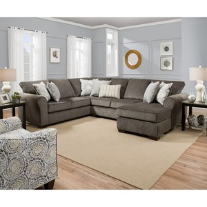 Casual Sectional Sofa with Right Arm Facing Chaise