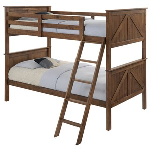 Modern Rustic Twin Over Twin Bunk Bed with Ladder