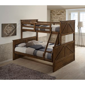 Modern Rustic Twin Over Full Bunk Bed with Ladder