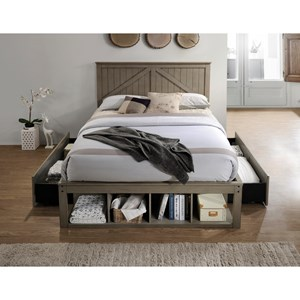 Rustic Full Captains Bed with Footboard Drawers and Storage