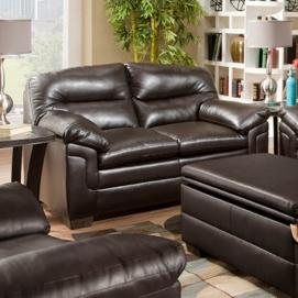 Casual Loveseat with Channeled Back and Pillow Top Arms