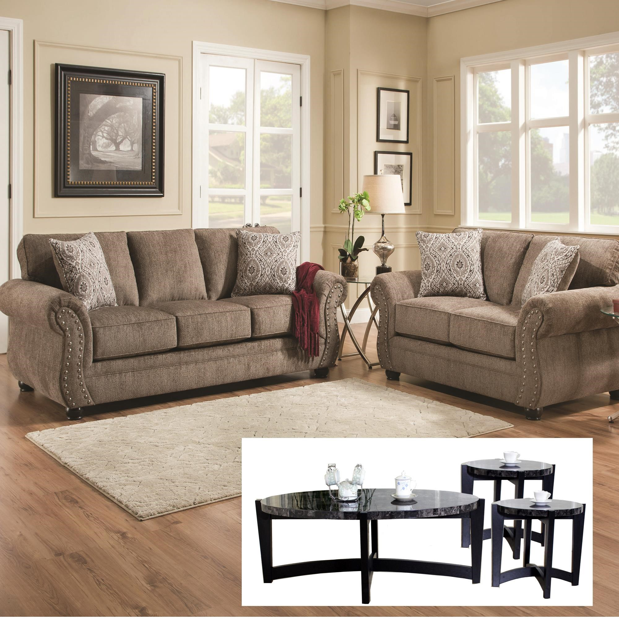 Sofa and Loveseat with Tables