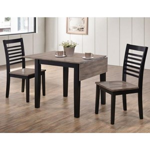Casual Three Piece Dining Set with Two-Tone Drop Leaf Table