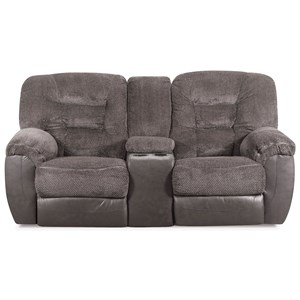 Casual Power Reclining Console Loveseat with Cupholders